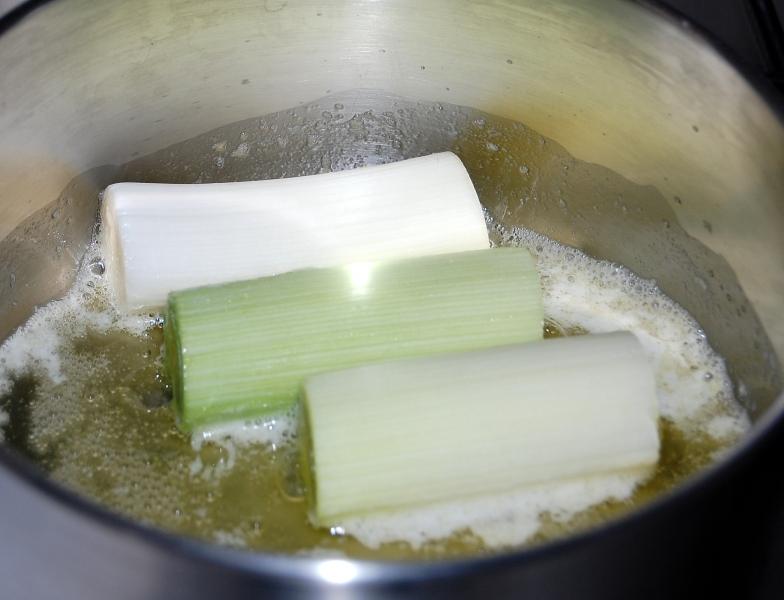 glasear los puerros con mantequilla