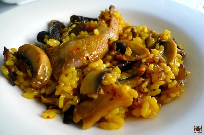 arroz de setas y codorniz