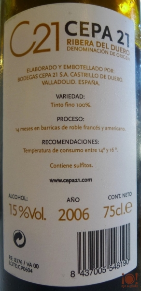 contraetiqueta del vino